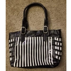 Black & White Stripe Tote Purse
